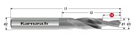 Karnasch HSS-XE korte trappenboor DIN 1897, 180° GM voor doorlopende draad