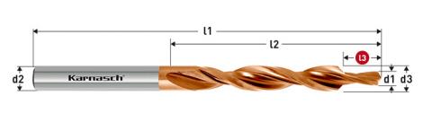 Karnasch HSS-XE Meerfasen-trappenboor DIN 8374, 90° GF voor Doorlopende draad