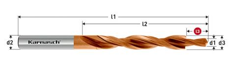 Karnasch HSS-XE Meerfasen-trappenboor DIN 8376, 180° GM voor doorlopende draad, TITAN-TEC gecoat