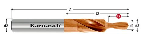 Karnasch HSS-XE TITAN-TEC korte trappenboor DIN 1897, 90° GF voor Doorlopende draad
