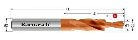 Karnasch HSS-XE TITAN-TEC korte trappenboor DIN 1897, 180° GM voor doorlopende draad