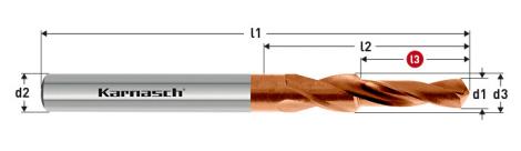 Karnasch HSS-XE TITAN-TEC korte trappenboor DIN 1897, 90° voor Kernboor-verzinking