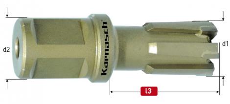 Karnasch HM kernboor Hardox-Line25 / Rail-Line25 Pro, snijdiepte 25 mm, Weldonopname 19 mm