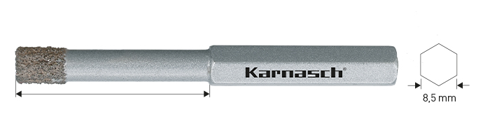 Karnasch BESTSELLER Diamant-bestrooide gatenzaag, Diamond-Grit snijdiepte 30mm – 40mm