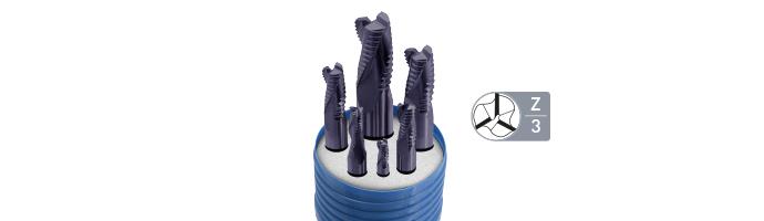 Karnasch HSSX-V2 ruwfrezenset, type vlamR d=6-8-10-12-16-20mm/Z=3/weldon-opname TIALN-FUTURA gecoat Art. 703006