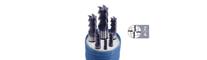 Karnasch HSSX-V2 frezenset,type N d=6-8-10-12-16-20mm/Z=4/weldon-opname TIALN-FUTURA gecoat Art. 703008